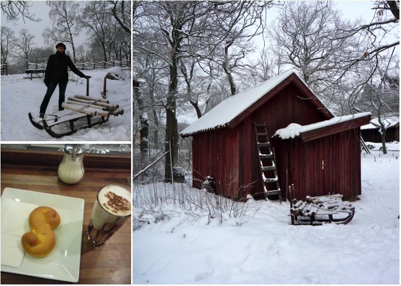 Skansen sous la neige et pause goûter avec chocolat chaud et lussekatter