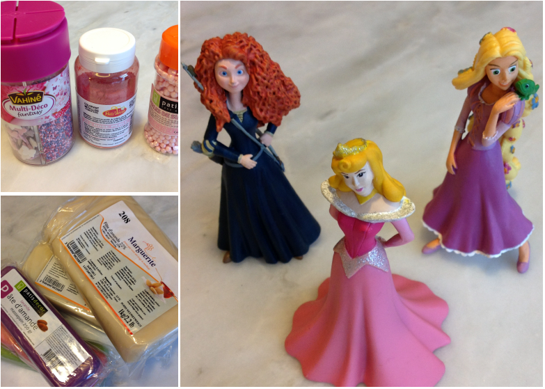 Pâte d'amande blanche et colorée - Personnages Disney - Perles nacrées, poudre nacrée et petites décorations en sucre rose et violet