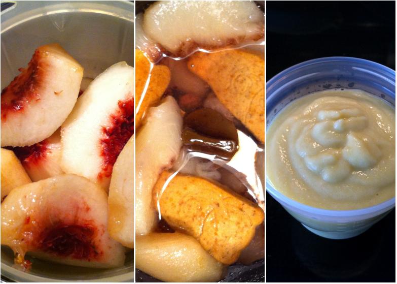 Compote de pêches et de biscuits à la pomme