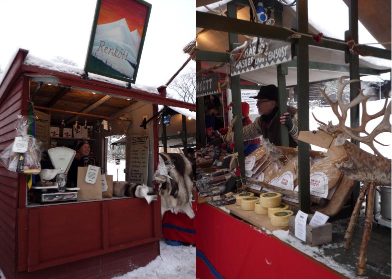 Vente de viande de renne sur les marchés de Noël à Stockholm