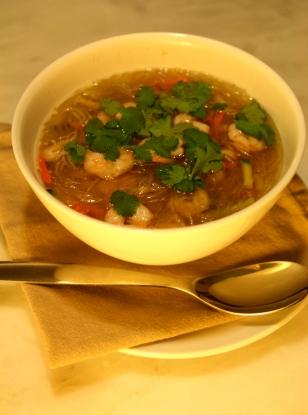 Bouillon Thaï express aux crevettes et au thé vert