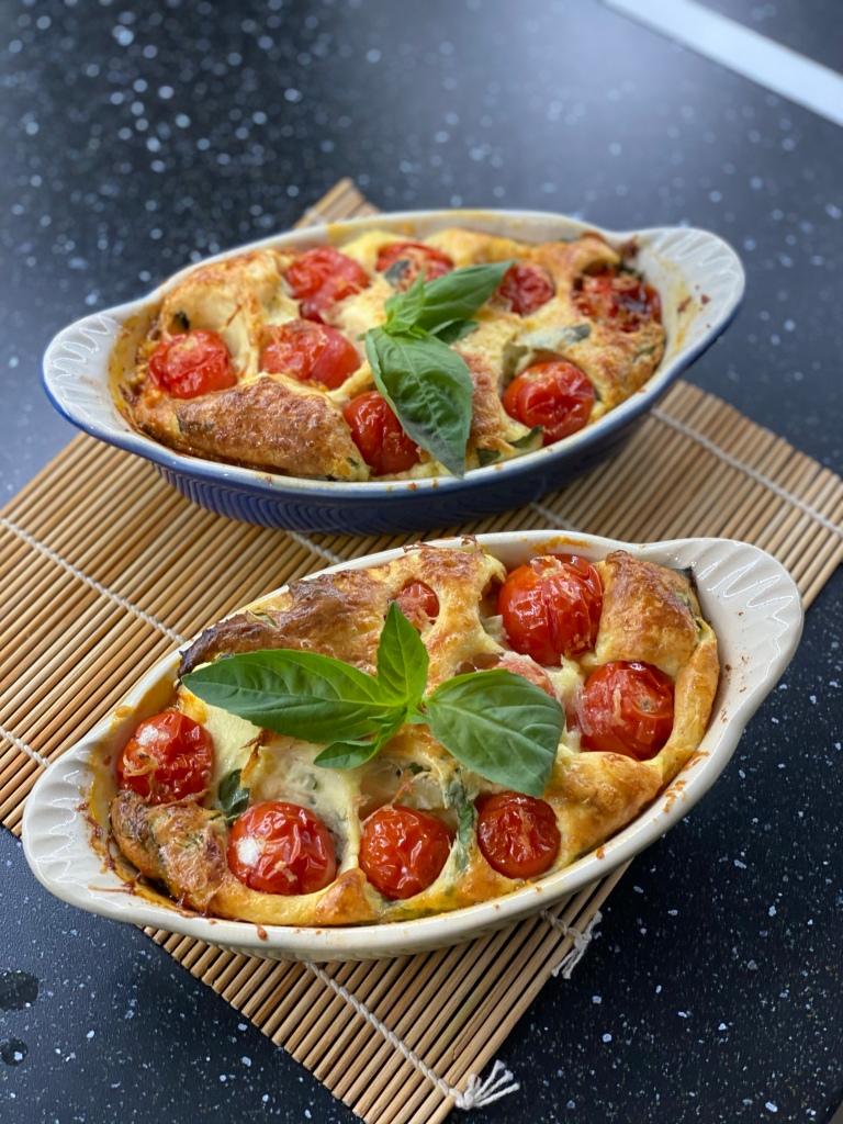 Clafoutis de tomates cerises et basilic